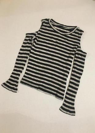 Нежнейшая блуза с открытыми плечами в рубчик, new look xs(6)2