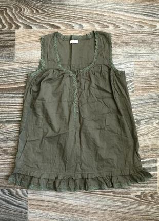 Милая нежная хаки хлопковая блузка блуза майка маечка с кружевом1