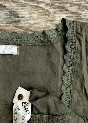 Милая нежная хаки хлопковая блузка блуза майка маечка с кружевом2