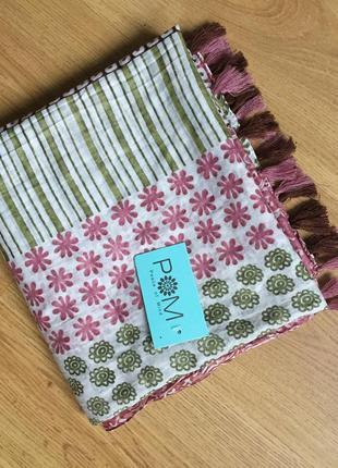 Классный нежный большой шарф палантин платок 100% котон4