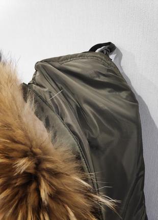Теплый зимний плащ на синтепоне с мехом енота. 16 р. новый!5