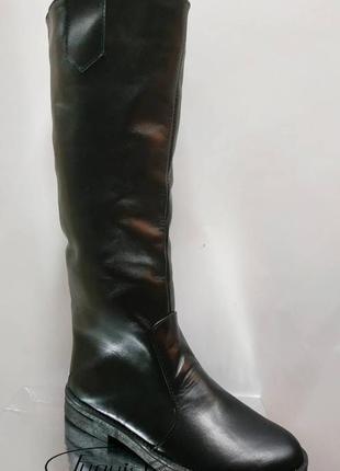 Зимние женские черные сапоги трубы натуральная кожа мех по всей длине2