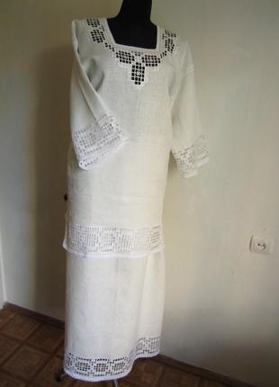 Женский костюм вышивка ручная работа лен100%, l1