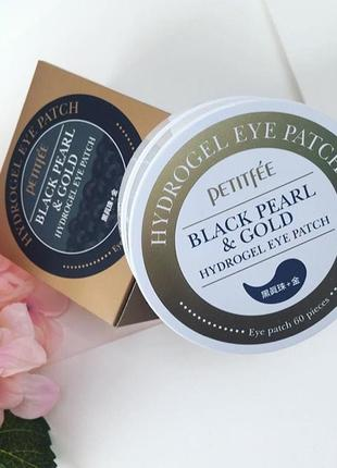 Petitfee - знаменитые патчи под глаза черный жемчуг + золото (black pearl & gold), 60 шт5