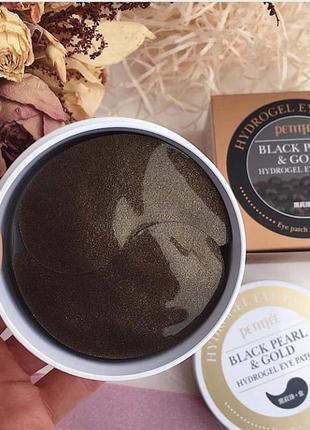 Petitfee - знаменитые патчи под глаза черный жемчуг + золото (black pearl & gold), 60 шт3