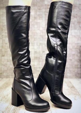 Рр 36-40 зима натуральная кожа люксовые высокие черные сапоги2
