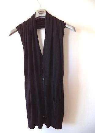 Черное платье туника  oltre шерсть,пуговки,интерестный покрой,