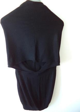 Черное платье туника  oltre шерсть,пуговки,интерестный покрой,2