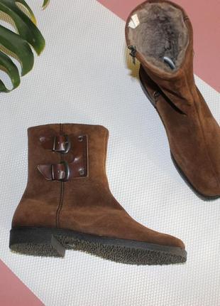 42 27,5см замшевые ботинки зимние сапоги на низком ходу1