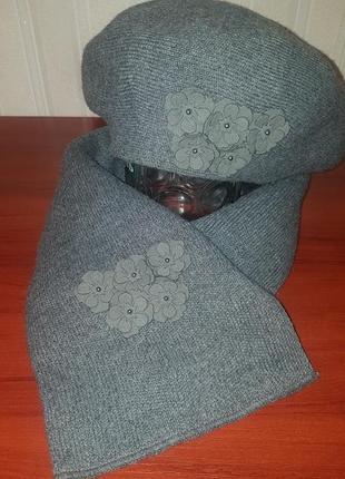 👉 теплый комплект берет&шарф 👍4