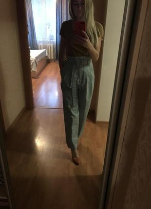 Классные брюки mango с высокой талией paper bag3