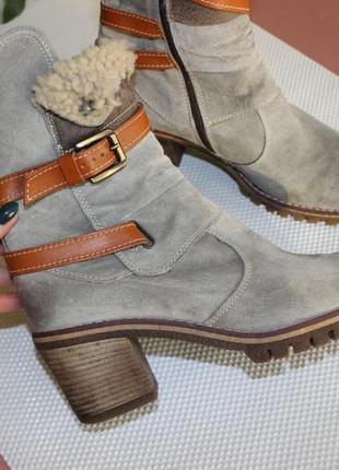 41 26,5см manas замшевые зимние ботинки на устойчивом каблуке ботильоны4