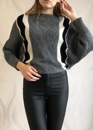 Теплый вязанный свитер кофта мышь со свободными рукавами