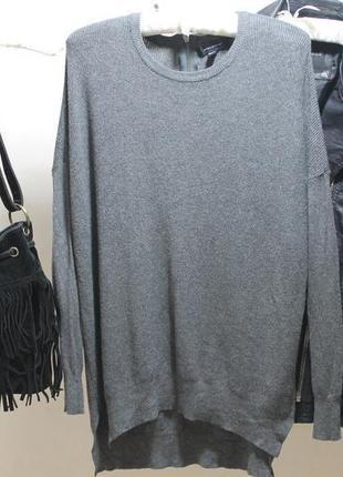 Вязаная кофта свитер с длинным рукавом в рубчик и замком на