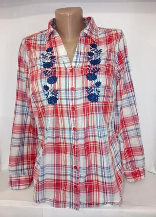 Хлопковая рубашка , блузка в клетку с вышивкой marks&spencer uk 12 / 40 / m1