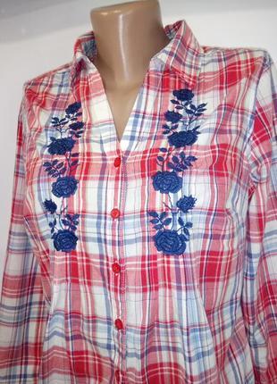 Хлопковая рубашка , блузка в клетку с вышивкой marks&spencer uk 12 / 40 / m2