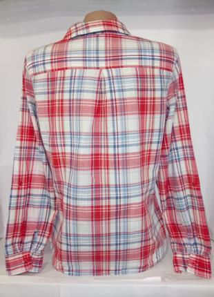Хлопковая рубашка , блузка в клетку с вышивкой marks&spencer uk 12 / 40 / m4