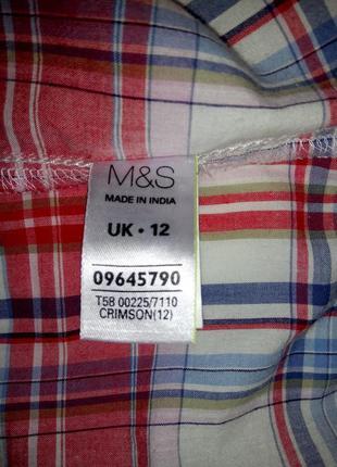 Хлопковая рубашка , блузка в клетку с вышивкой marks&spencer uk 12 / 40 / m5