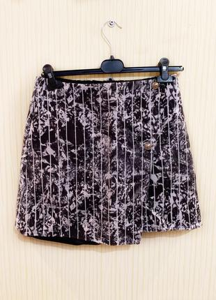 & other stories черно-белая чёрная белая короткая юбка мини в полоску