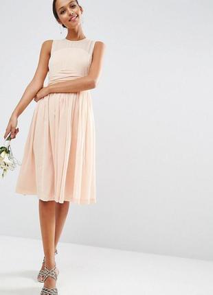 Платье миди с драпированной вставкой asos