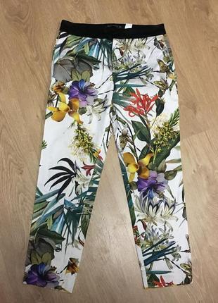 Брюки летние в тропический принт с карманами размер 8-101
