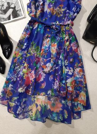 Красивое шифоновое платье с подкладом. размер l2