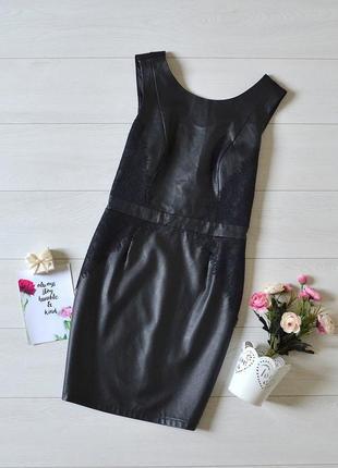 Дуже красиве плаття з кожзаму і плотного трикотажу з кружевом only.