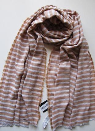 Большой роскошный бежевый шарф zara, хлопок