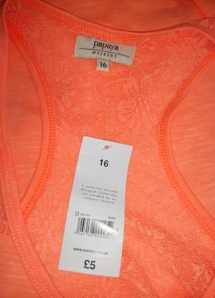 Яркая оранжевая майка с кружевной спинкой papaya uk 16 / 44 / xl5