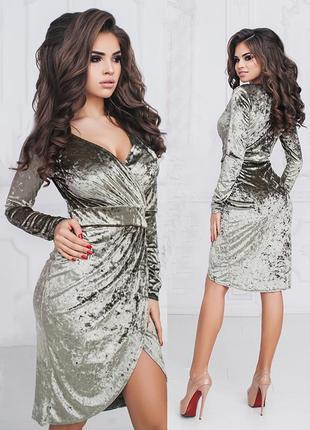 Оливковое велюровое платье {все размеры и расцветки}