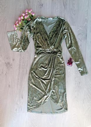 Оливковое велюровое платье {все размеры и расцветки}2 фото
