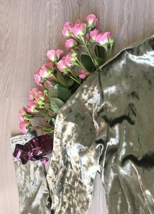 Оливковое велюровое платье {все размеры и расцветки}3 фото