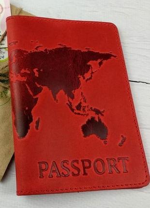 """Кожаная обложка на паспорт """"карта"""" ."""