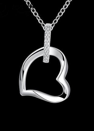 Красивая подвеска в серебре 925 с фианитами сердце на цепи, новая! арт.2031