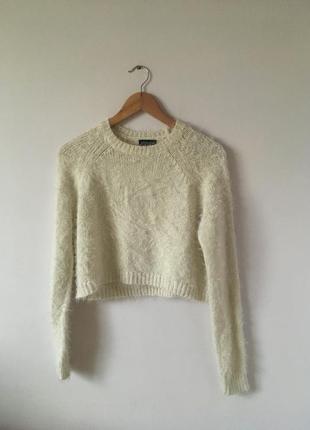 Мягкий белый свитер травка topshop