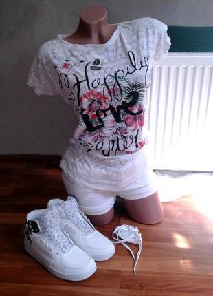 Летний белый комплект. футболка + шорты.