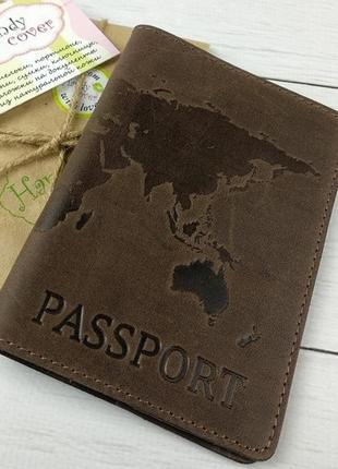 """Кожаная обложка на паспорт """"карта"""""""