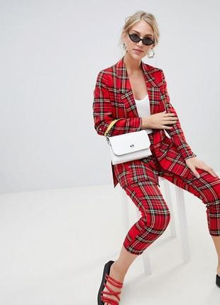 Стильные красные брюки/штаны прямого кроя/оверсайз в клетку primark