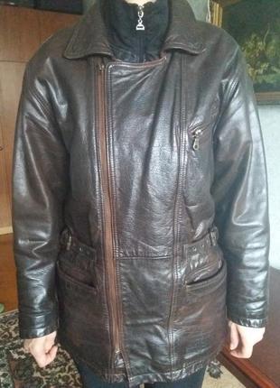 f6349ad2fdf Зимняя кожаная коричневая куртка косуха viking leather(плотная кожа) швеция