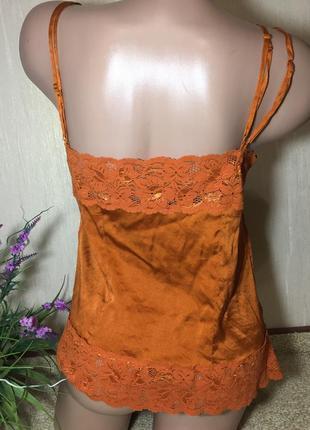 Шелковая майка натуральный шелк в бельевом стиле с кружевом4