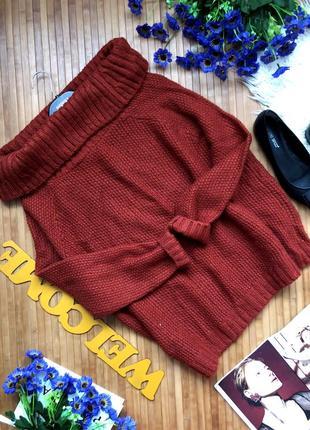 Шикарный новый свитер воротник лодочка стильной вязки2