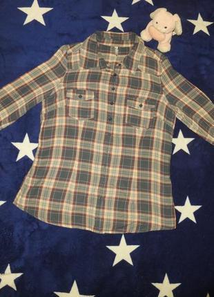 Классная рубашка в клетку клетчатая s-xs новогодняя скидка!