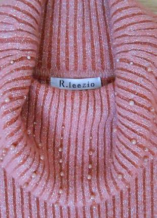 Свитер гольф лапша крупный рубчик нюд с люрексом кашемиром r.leezio теплый р. 38 - 405