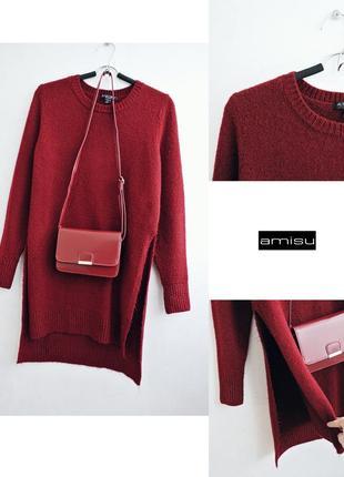 Мягкий удлиненный свитер с разрезами по бокам винный красивый  цвет1