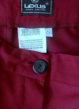 Брюки lexus штаны легкие прямые зауженные к низу цвет марсала бордовые2