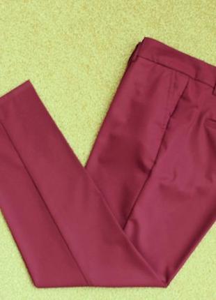 Брюки lexus штаны легкие прямые зауженные к низу цвет марсала бордовые5