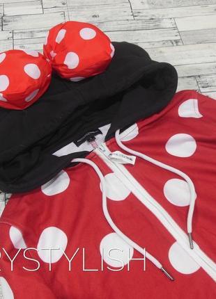 Классный костюм для дома, мини маус, объемный капюшон с бантиком2