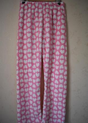 Теплые мягкие домашние брюки с принтом