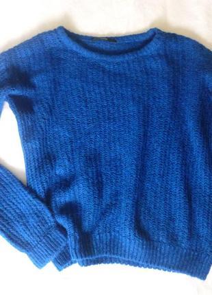 Очень красивый яркий легкий свитер оверсайз oversize индиго1