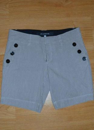 Шорты дания бермуды джинсовые в полоску высокая талия посадка хлопок р. м1
